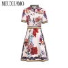 MIUXIMAO 19 High Quality New Fashion Runway Summer Dress Women's Retro Half Sleeve Stereo Flower Vintage Dress vestidos