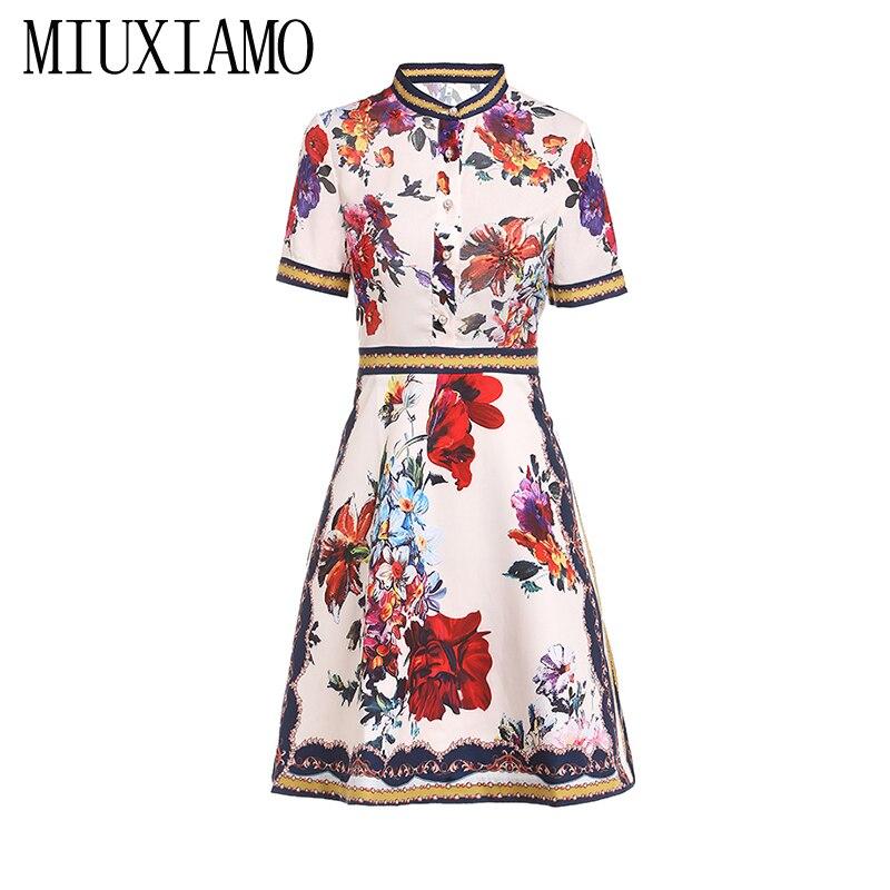 MIUXIMAO 19 High Quality New Fashion Runway Summer Dress Women's Retro Half Sleeve Stereo Flower Vintage Dress vestidos