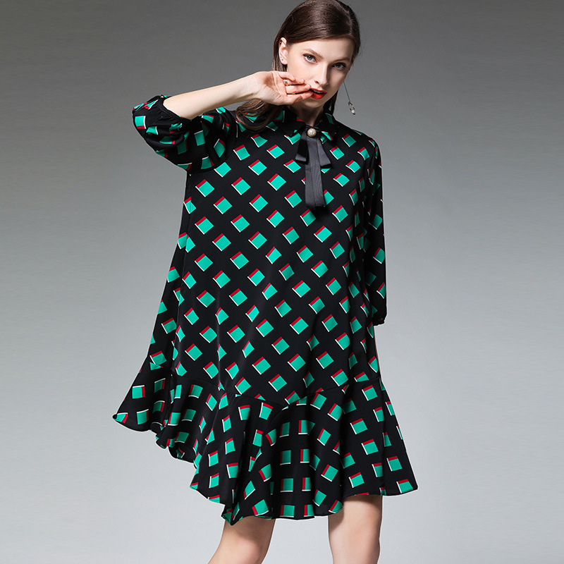 XL – 4XL Plus Size Chiffon Dress 19 Summer Dress Women Green Plaid Print Half Sleeve Loose Dress Elegant Ruffles Midi Dresses 3