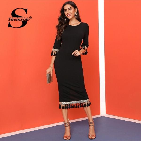 Sheinside Black Sequin Detail Half Sleeve Dress Women 19 Autumn Tassel Slit Hem Pencil Dresses Ladies Elegant Bodycon Dress