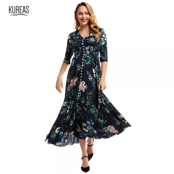 Kureas Chiffon Maxi Dress Women Fashion Floral Printed Half Sleeve Long Dresses Single Breasted Button Decor
