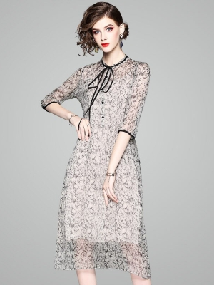100% Natural Silk Dress Women Summer Fashion Printed O-Neck Half Sleeved Loose A-Line Two Piece Dress Midi M-XXL