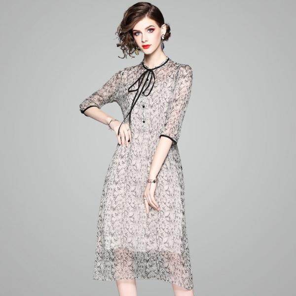 100% Natural Silk Dress Women Summer Fashion Printed O-Neck Half Sleeved Loose A-Line Two Piece Dress Midi M-XXL