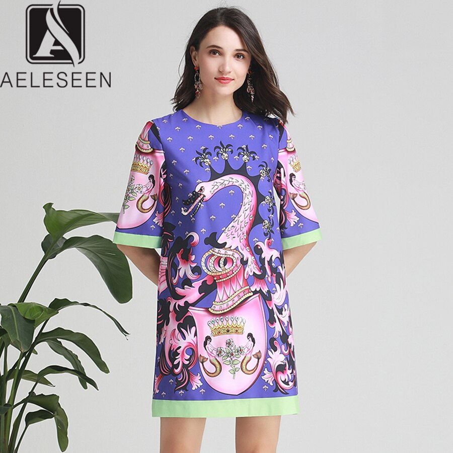 AELESEEN Women Beaded Dresses 19 Summer High Street Half Sleeve Coloful Animal Print Diamonds Straight Mini Loose Dress 1
