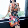 Imitate Real Silk Dress Plus Size 19 New Summer Women Silk Dress Loose Half Sleeved Print A-line Dresses Beach Casual Clothes