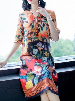 Imitate Real Silk Dress Plus Size 19 New Summer Women Silk Dress Loose Half Sleeved Print A-line Dresses Beach Casual Clothes
