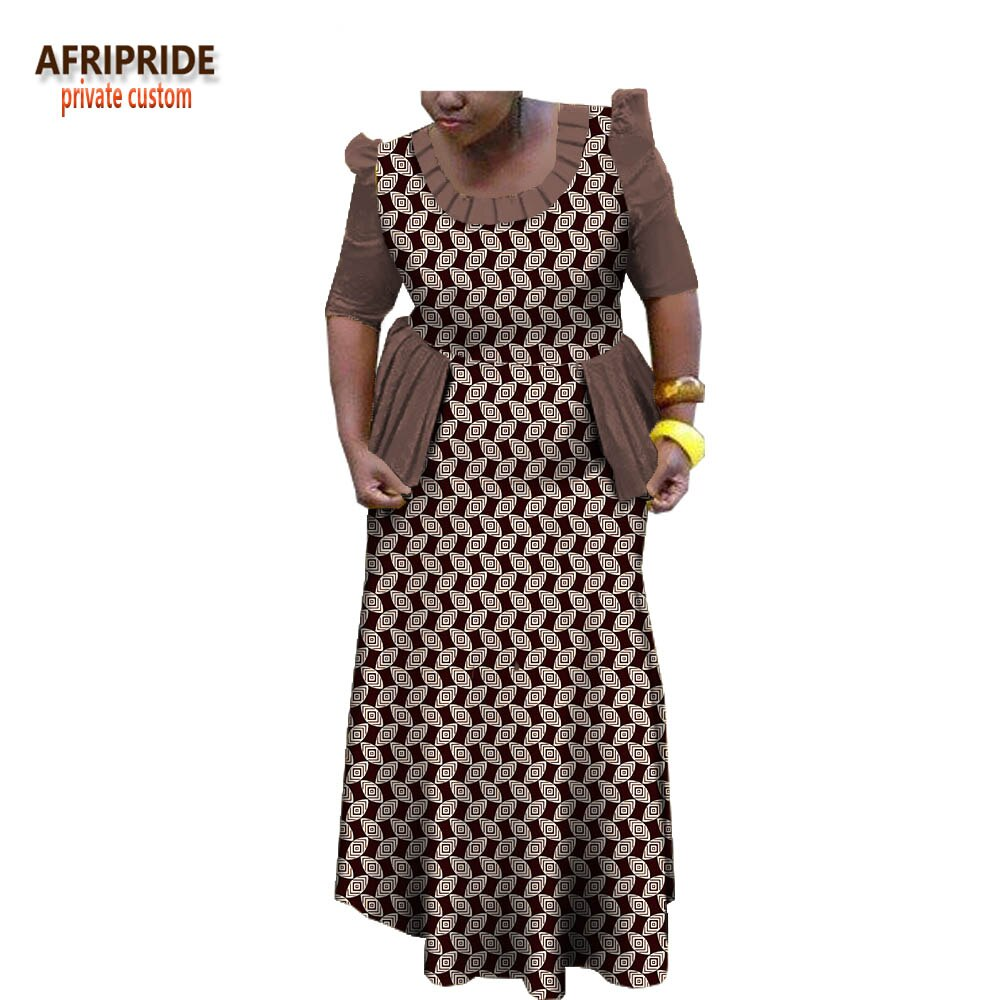 19 spring african traditional women dress AFRIPRIDE half sleeve ankle-length dress with ruffles decoration for women A1825025 3