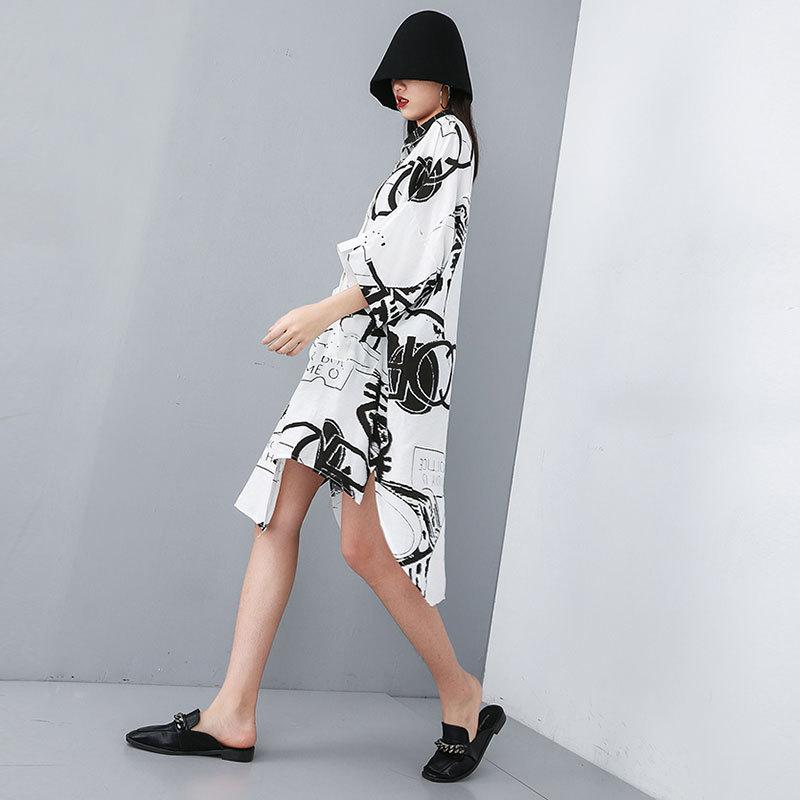 [XITAO] Casual Women Fashion 19 Summer Turn-down Collar Half Sleeve Loose Dress Female Irregular Button Mid-calf Dress ZQ1707 3