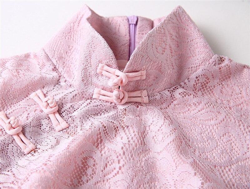 Early Spring New Vintage Elegant Women's Pink Soft Lace Slim Flare Half Sleeve Lady Cheongsam Chinese Style Sheath Dress 3