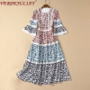 VERDEJULIAY Autumn Fashion Runway Flower Printed Dress Women's Half Flare Sleeve Designer Elegant Long Holiday Party Dress