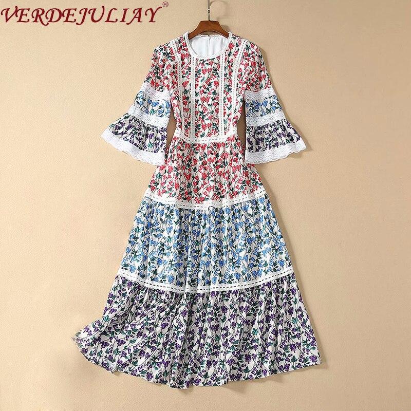 VERDEJULIAY Autumn Fashion Runway Flower Printed Dress Women's Half Flare Sleeve Designer Elegant Long Holiday Party Dress