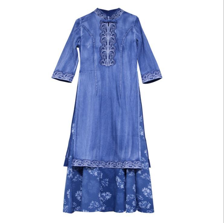 19 Autumn Elegant Vintage Denim Dress Embroridery Hit Color Half Sleeve Cheongsam Party Ladies Dress Vestidos 3