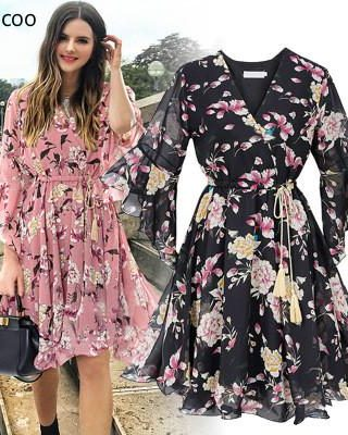 Chiffon High Elastic Waist Party Dress Bow A-line Women Butterfly Sleeve Flower Print Floral Boho Dress Female Vestido Plus Size