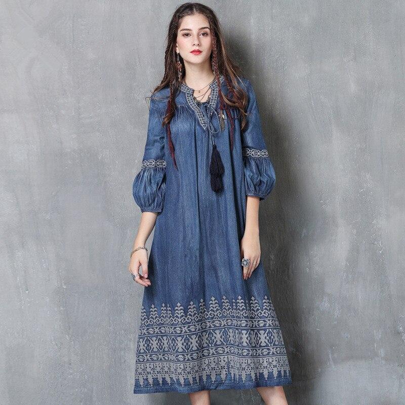 WSYORE Large Size Denim Dress Women 19 Spring Vintage Embroidered Half Sleeve Dress Casual Long Dresses Vestidos NS1148 3