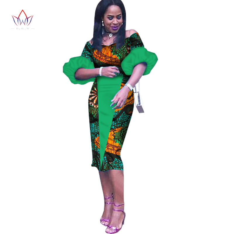 Customized African Print Clothing Half Sleeve Knee Dress Summer Women Party Dresses Plus Size African Clothing 6XL BRW WY1243 3