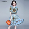 FairyShley 19 Autumn Vintage Half Sleeve Blue Print Shirt Dress Women Elegant Turn Down Collar Celebrity Evening Party Dress