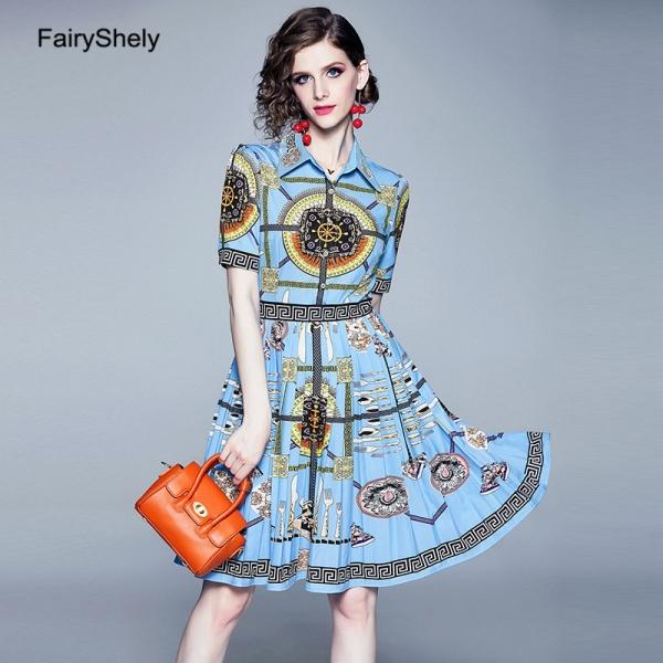 FairyShley 19 Autumn Vintage Half Sleeve Blue Print Shirt Dress Women Elegant Turn Down Collar Celebrity Evening Party Dress