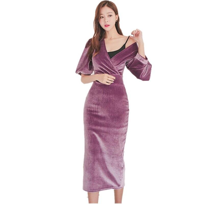 HAMALIEL High Quality Velvet Half Pull Sleeve Pencil Dress 19 Fashion Spring Women Sheath Bodycon OL Dress Slim Party Dress 1