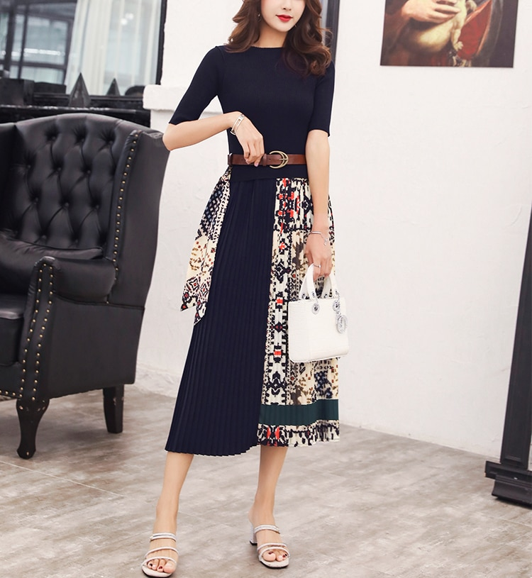 Fashion Boutique Women Knitted Dress Half Sleeve Printing Pleated Patchwork Dress Women Elegant Work wear Ladies Clothes SL175 2