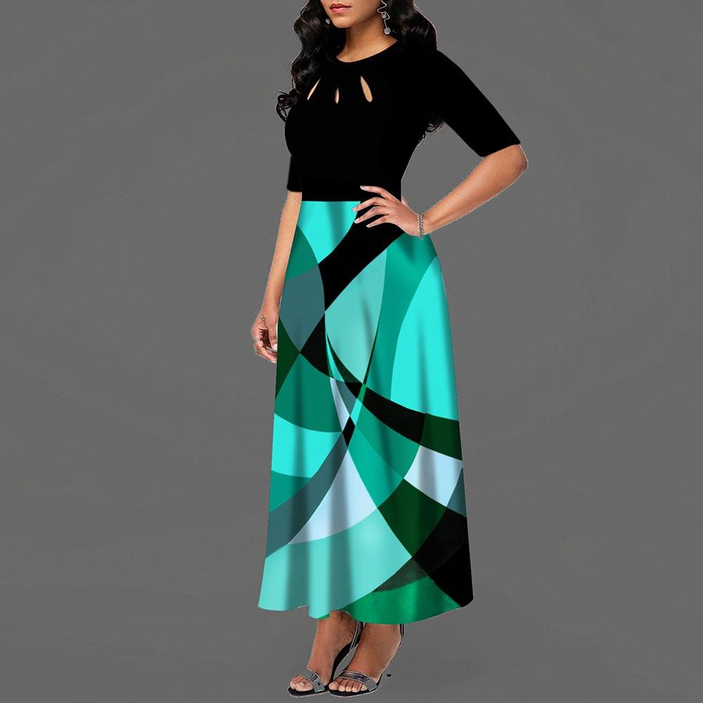 Half Sleeve Round Neck Bowknot Vintage A Line Printing Women Maxi Dress Standard-Waist Dress 19 Autumn Dress 3