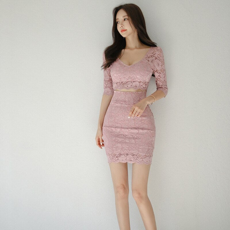 S-XL Plus Size Half Sleeve Sexy Party Dress Women Solid Hollow Out Mini Wrap Fall Dress Womens Autumn Pink Lace Dress for Ladies 1