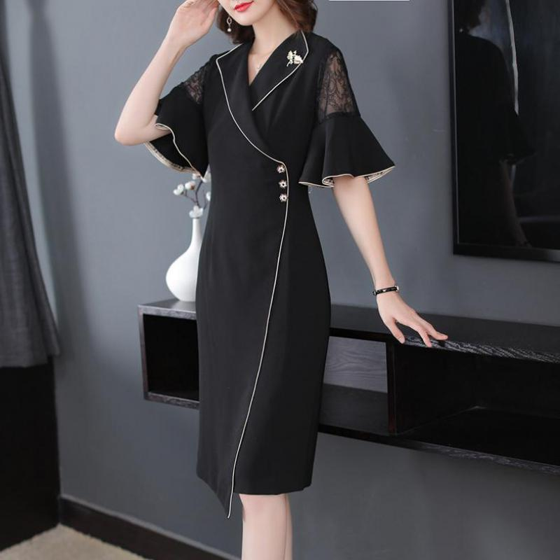 Fall Summer Elegant Women Suit 17 Ruffle Half Sleeve Lace Patchwork Black Dress , Office Lady Female Slim Xxl Button Dresses