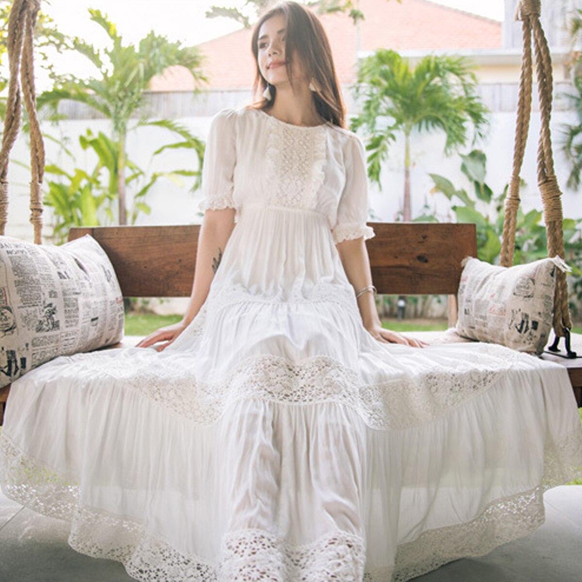 New Bohemian Hippie Big Swing Holiday Beach Dress O-Neck Half Sleeve Spring Summer Dresses Women White Patchwork Lace Dress 1