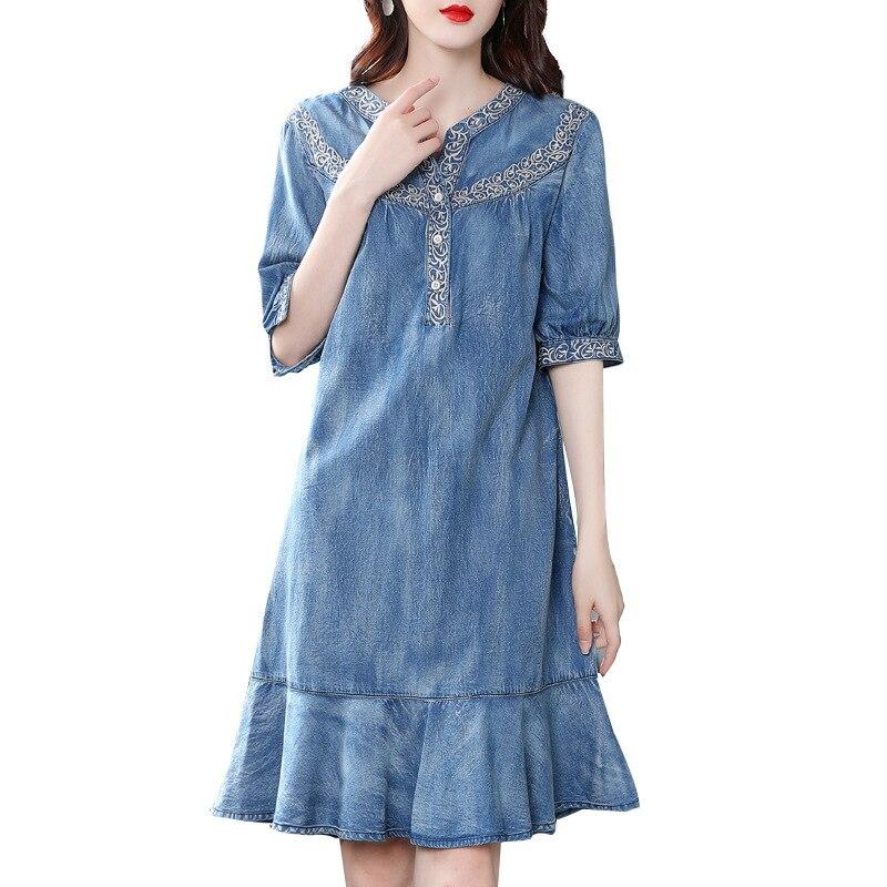 19 autumn new vintage ruffled denim dess women v-neck embroidered half sleeve a-line dress 1