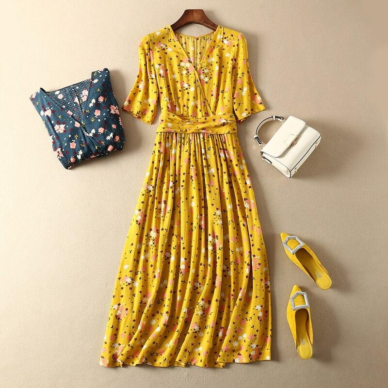 CAMIA French 100% viscose V collar waist knot half sleeve floral printing Elegant and high quality midi dress