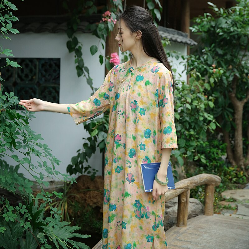 Retro Frog Buttons Long Side Opening Half Sleeve Yellow Floral Dress, Traditional Chinese Cheongsam Style Loose Straight Robes 3