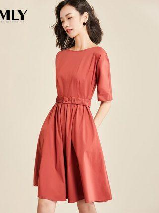 Vimly Casual Office Dress Half Sleeve Elegant Tunic Solid Dresses Female O Neck Zipper Belted A Line Dress Vestidos OL Style