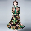 19 Women's Clothing Spring Summer Fashion Turn-down Collar Bow Flowers Printing Dress Half Sleeves Vintage Long Dresses Female