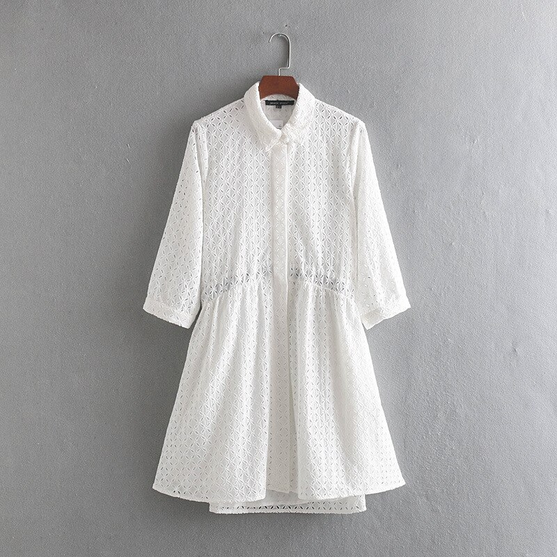 Women Casual Elegant White Shirts Dress 19 Summer Half Sleeve Hollow Out A-Line Dresses Female Summer Party Dress vestidos 2
