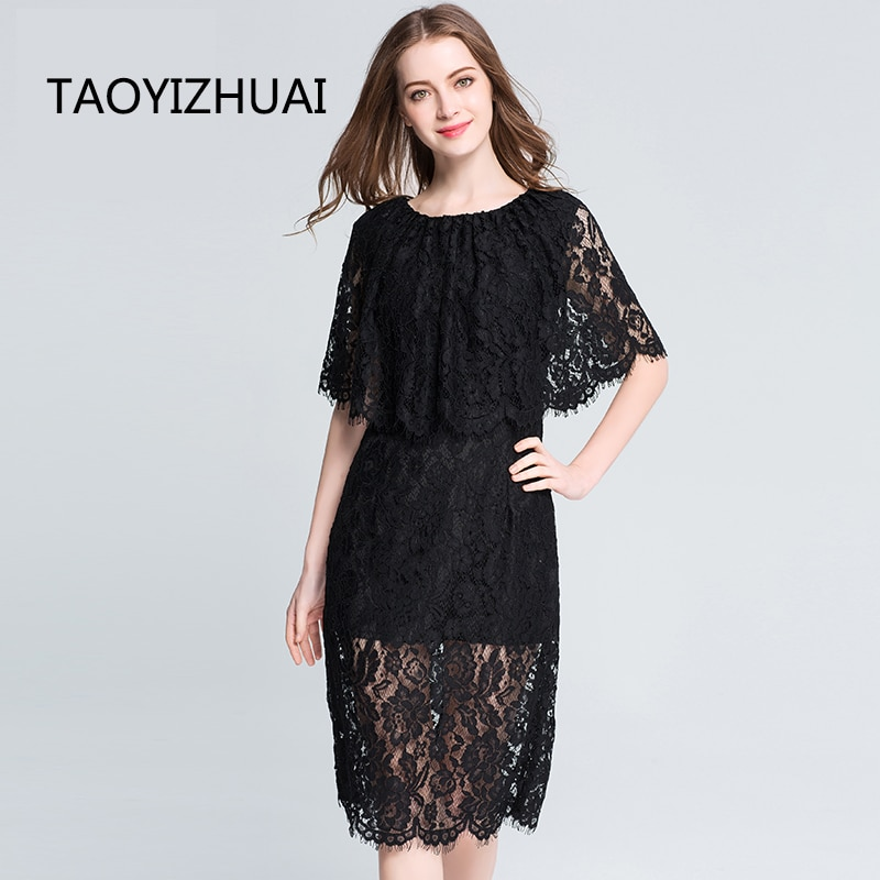 TAOYIZHUAI Summer straight Natural Factors Half Knee Length O Neck Cloak sleeves Hollow Out solid casual style women dress 115 1