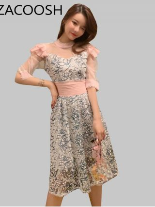 New Fashion Women Party Dress 19 Runway Summer Sweet pink mesh Patchwork half Sleeve Dress Embroidery Floral Midi Dresses