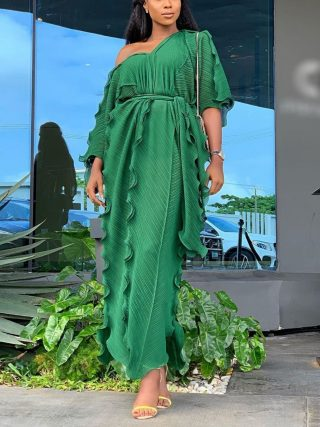 Loose Women Half Sleeve Ruffles Long Dress Casual Boho Style Party Beach Maxi Dress Fashion V Neck Oversized Falbala Dress