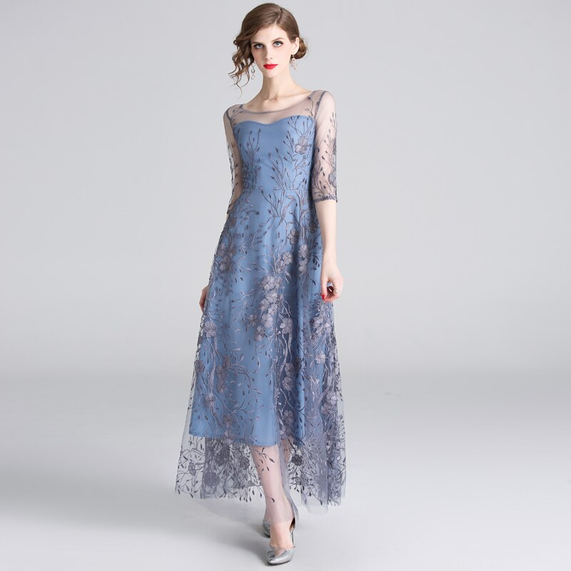 HAMALIEL Runway Noble Half Sleeve Women Tull Long Dress 19 Spring Mesh Embroidery Floral Dress Elegant Patchwork Slim Vestidos 1