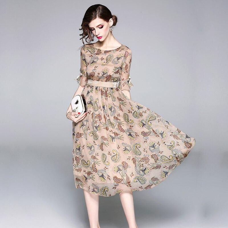 19 High quality luxury Runway Summer Chiffon Women Printed half Sleeve dress vestidos 2