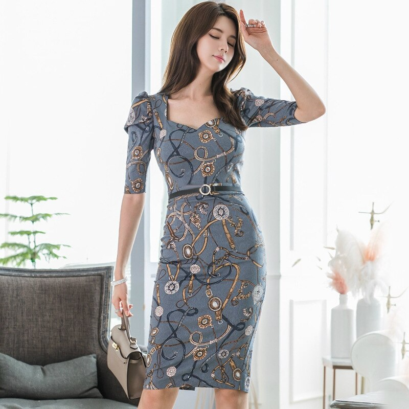 Printed Jewelry Autumn Pencil Dress Women Half Sleeve Package Hip Wrap Dress Women Winter Casual Dresses Ladies Vestido Largo 1