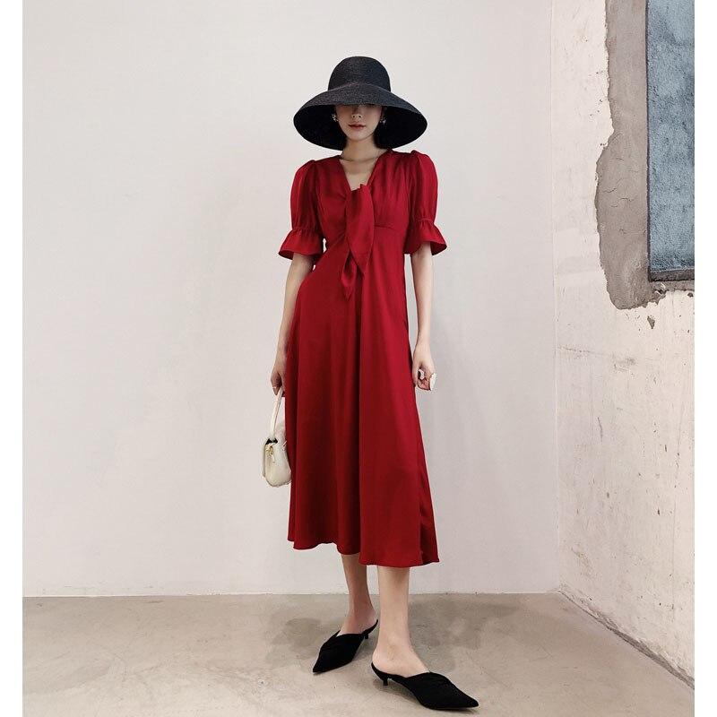 Vintage Ladies Red Dress Sexy Women Summer Autumn Half Sleeve Elegant Party Dresses 19 Sundress Female Festa Vestidos 1