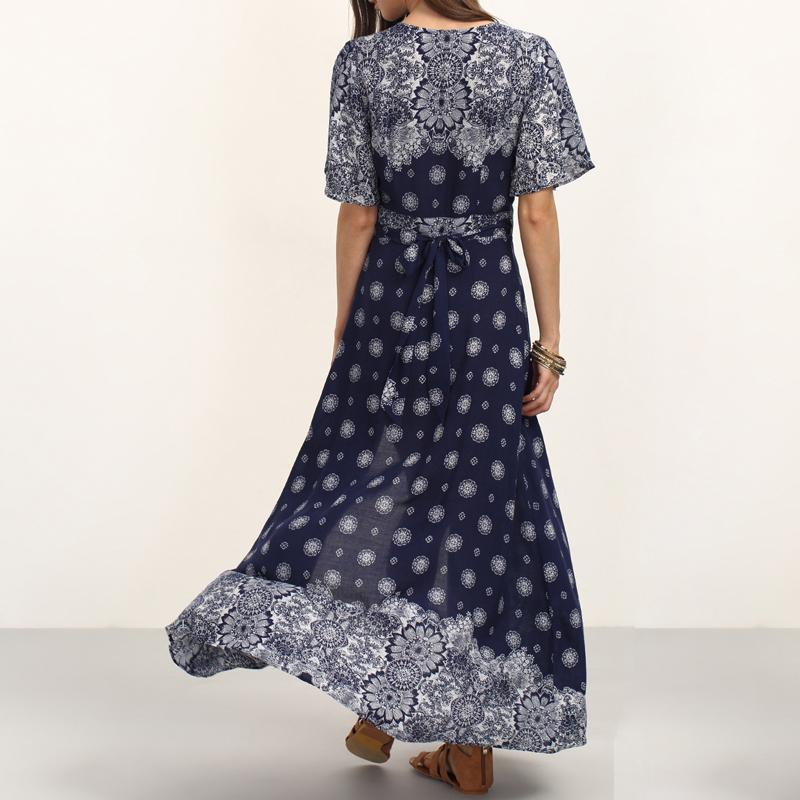 HEE GRAND Ladies Summer Long Dresses with Sashes Womens Vintage Multicolor Print V Neck Half Sleeve Split Maxi Dress WQL5625 3