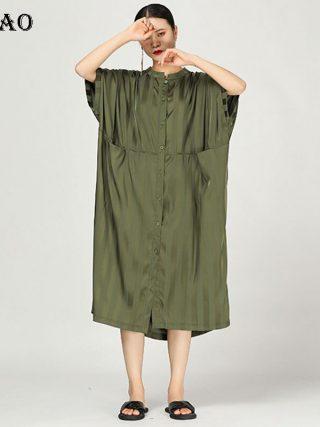 [XITAO] 19 Summer Korea Fashion Stand Collar Half Sleeve Loose Dress Female Patchwork Striped Pocket Mid-calf Dress WBB3369
