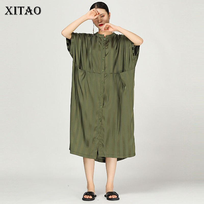 [XITAO] 19 Summer Korea Fashion Stand Collar Half Sleeve Loose Dress Female Patchwork Striped Pocket Mid-calf Dress WBB3369
