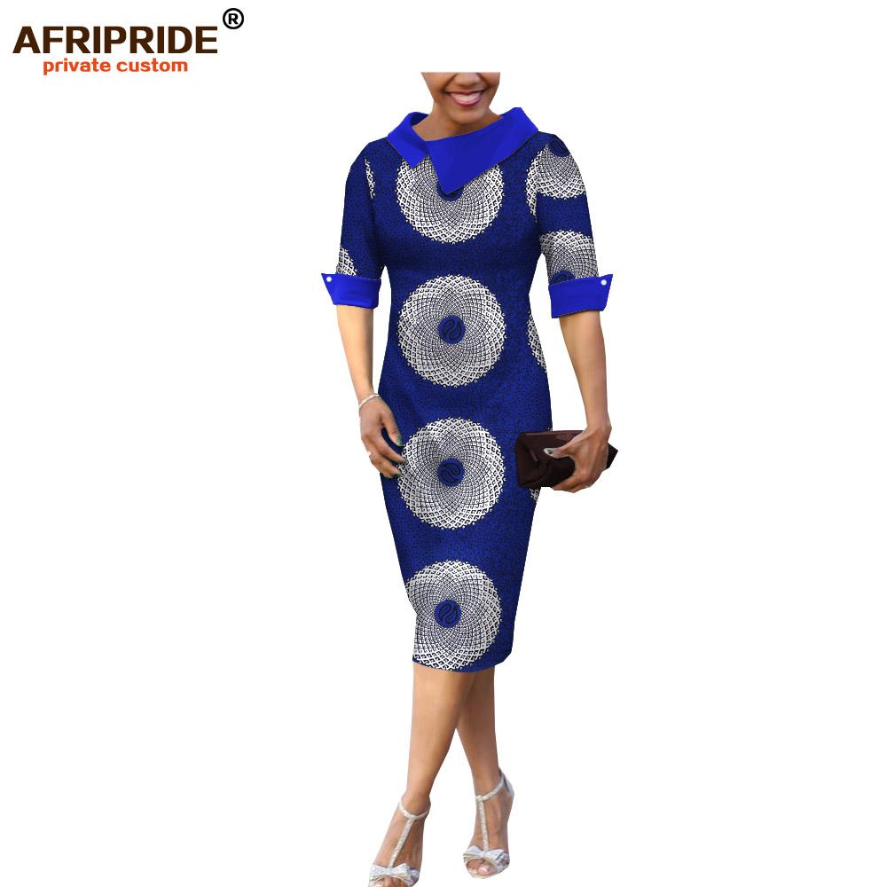 18 summer&autumn casual women pencil dress african wax print AFRIPRIDE tailor made half sleeve mid-calf length dress A1825055 1
