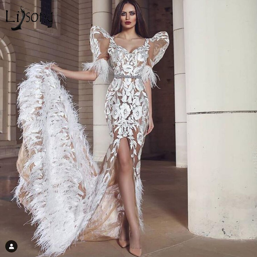 New Floral Lace Mermaid Bridal Dresses Luxury Feather Side Split Long Prom Gowns Half Sleeves Formal Party Dress