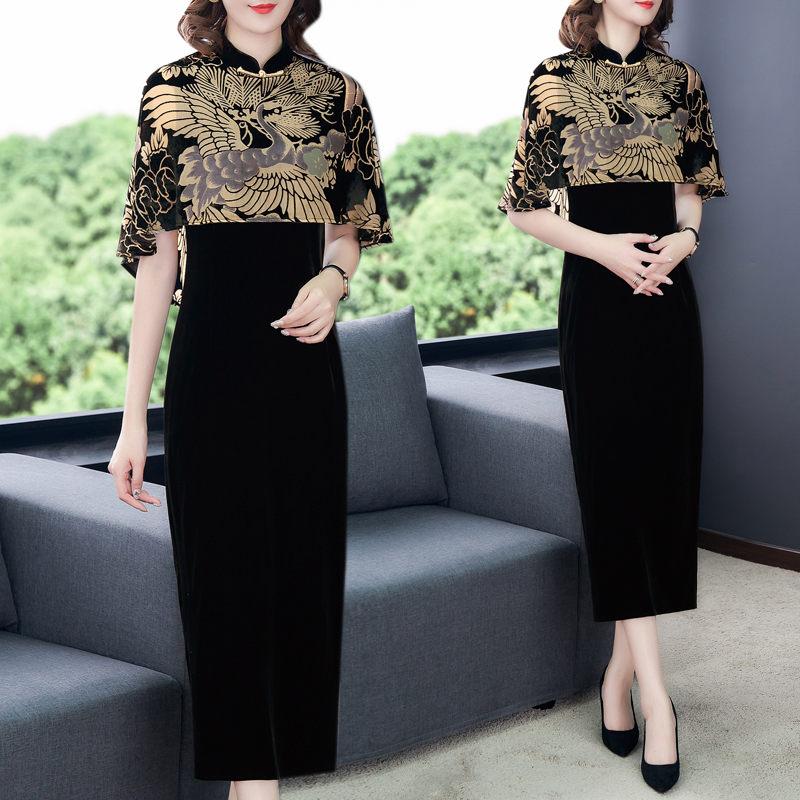 Chinese Style Clothing Gold Velvet Print Cloak Vintage Qipao Dress Women Elegant Plus Size Party Dress Femme Robe Vestidos f2626 1