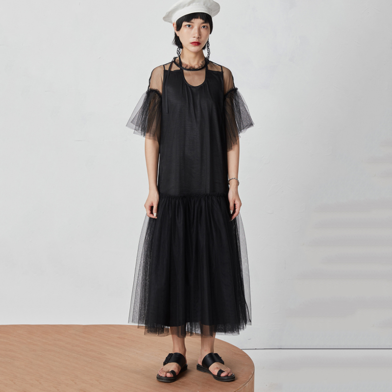 TVVOVVIN 19 New Spring Summer Round Neck Half Sleeve Mesh Perspective Bandage Spliced Loose Long Dress Women Fashion Tide D126 2
