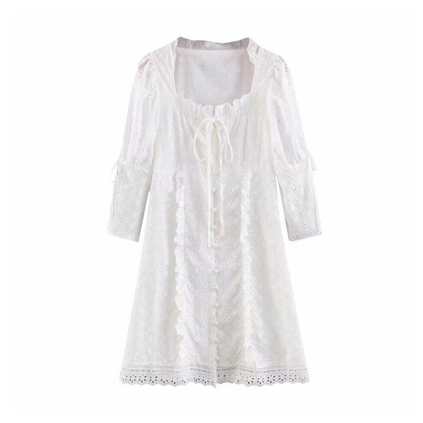 Women sweet embroidery hollow out mini dress white pleated half sleeve dresses female sweet chic A line vestido