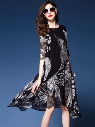 Western Fashion Floral Print Dresses Woman Half sleeve Brand Vestidos Mujer 18 Elegant Rayon Dress Summer new dress black
