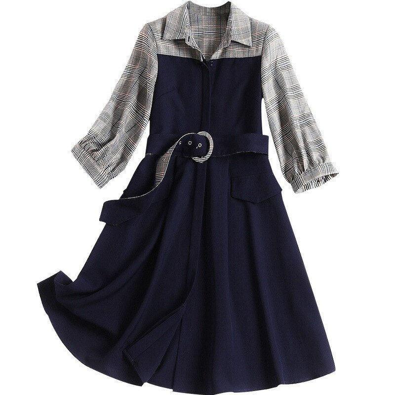 New Fashion 19 Spring Autumn Office Lady Black Patchwork Plaid Dress Turn-down Collar Half Sleeve Elegant Women's A-line Dress 1